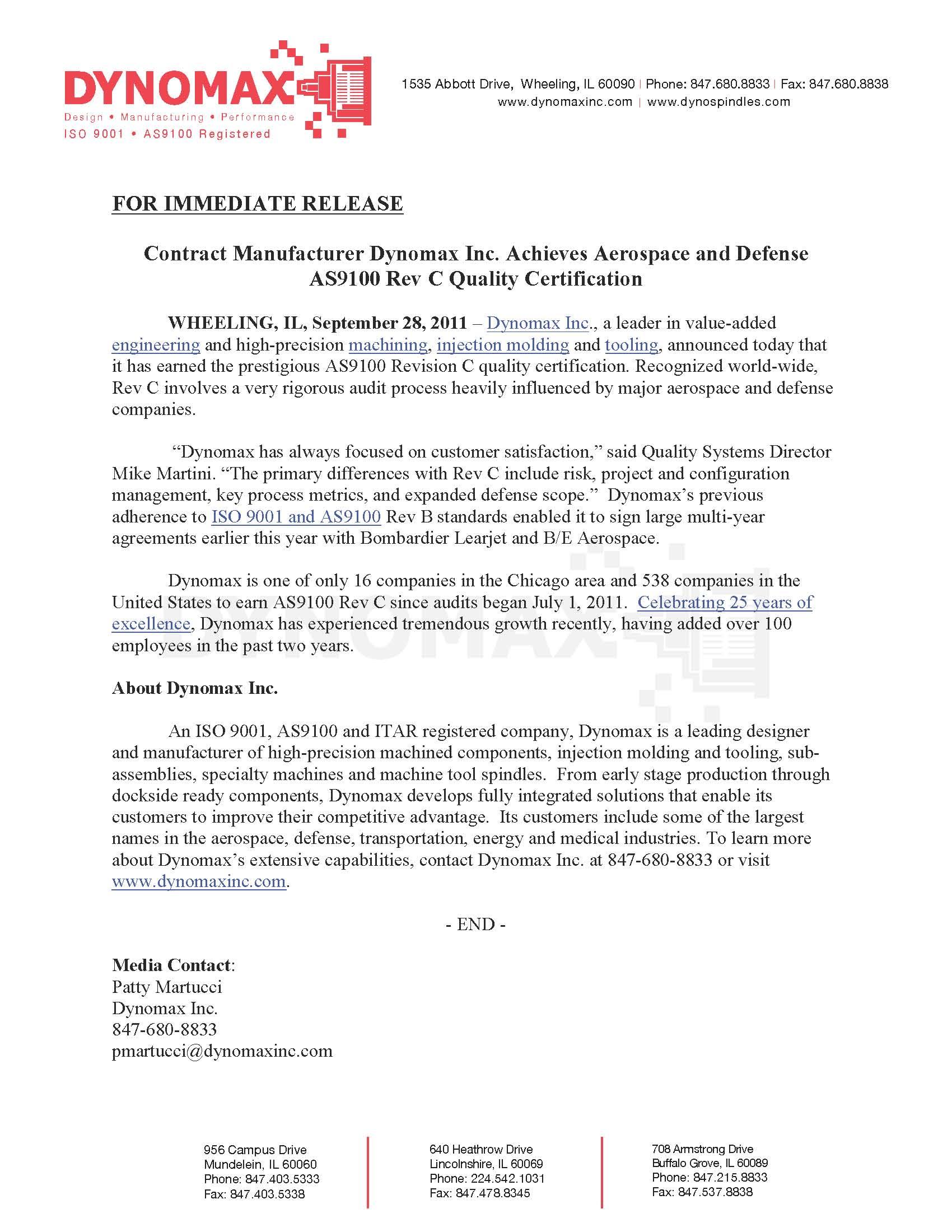 Press Releases Dynomax Inc
